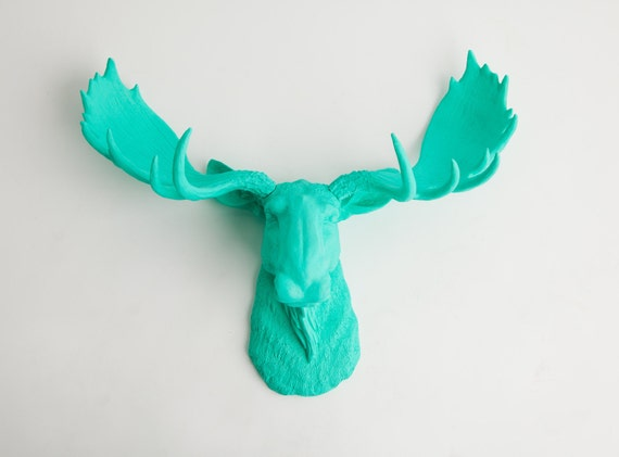 Fake Moose Head - The Tiffany - Turquoise Resin Moose Head- Moose Resin Turquoise Faux Taxidermy- Chic & Trendy