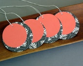 Gift tags: double circle set of 12 large black and white with salmon orange - paperunlimited