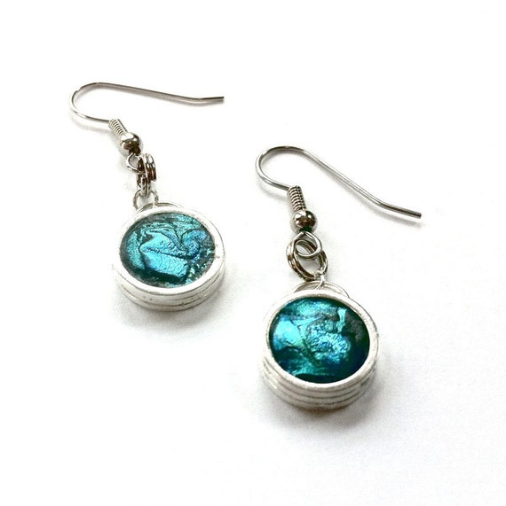 Teal Earrings, Pop of Color, Teal Jewelry, Silver and Teal, Customizable Earrings, Teal Dangle Earrings, Handmade jewelry. Handmade Earrings
