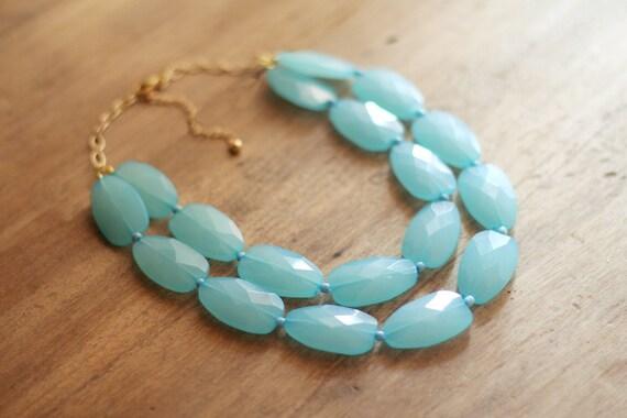 Aqua Blue Layered Statement Necklace