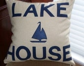 Lake House Decorative throw pillow with felt lettering 22 x 22 - DivinePillows