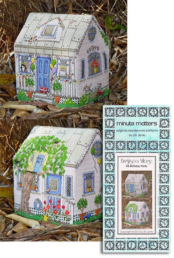 Cross stitch cottages in 3D.