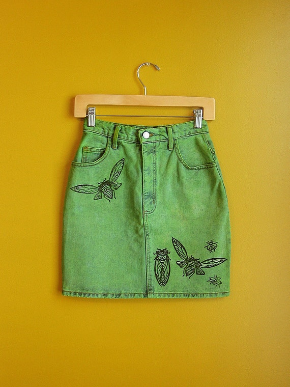 HAND PRINTED & hand dyed upcycled 1980s vintage guess denim skirt