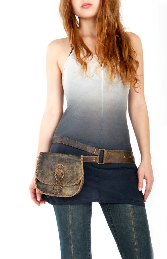 Woven rustic leather belt bag