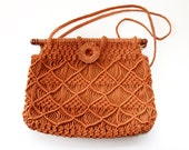 Vintage Macrame Purse Burnt Orange - Boho Hippie Handbag - LadyLyBoutique