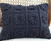 Crochet flower cushion - soft sculpted flowers, beautifully elegance, Japanese chic. - CrochetObjet