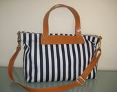10% S A L E Navy blue and white nautical stripes cotton bag / shoulder striped bag/ cross body messenger  bag-MADE TO ORDER - Laroll