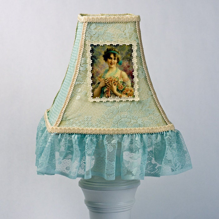 Victorian Lamp Shades on Lamp Shade  Blue Lamp Shade  Shabby Chic Lamp Shade  Victorian Lamp