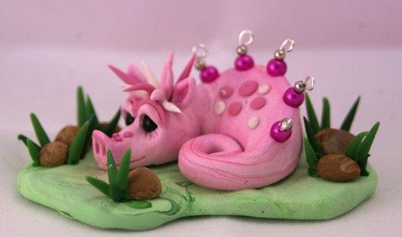 PUKILI - original polymer Clay pink DRAGON - OOAK
