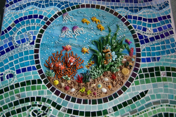 UNDER the SEA - polymer clay/glass mosaic OOAK -  orders taken