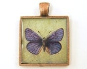 Butterfly Pendant - Purple Green Collage Square Copper Resin Pendant - BeautifulByCharlene