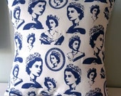 OOAK Queen Elizabeth Jubilee Cushion / Pillow cover Upcycled Teatowel - TheLuckyFox