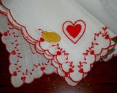 Vintage Ladies Valentine Hankie  Swiss White Cotton Red Hearts - VintageBonnieBerjean