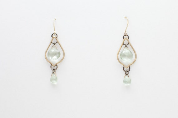 14kt Gold and Green Amethyst Earrings