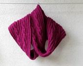 Chunky Scarf Knitted in dark pink chunky scarf cowl handknitted long scraf  fuschia amaranth - AlbadoFashion
