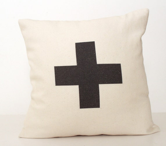 Plus Typographic / Swiss Cross  16x16 inch  Pillow Cover, Throw Cushion, Minimalist and chic