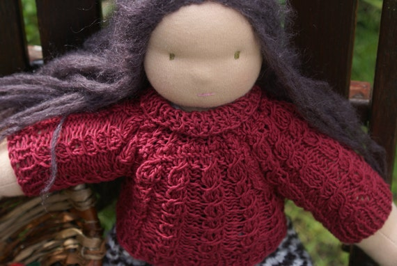 "Knitting Pattern for a  16 - 18 inch Waldorf Doll ""Brambleberry Turtleneck Sweater)"