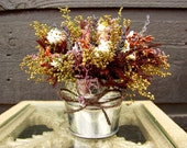 Wedding Centerpiece, Wedding Table Arrangement, Primitive Country Tin Bucket with Fragrant Rustic Rose Dried Flower Arrangement 072
