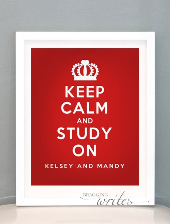 Dorm Room Decor or Wall Art - Personalized Roommate and College Gift - Printable (Keep Calm Theme))