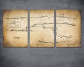 "Old New York Subway and Rail Map on METAL -  46"" x 23"" Triptych - FREE SHIPPING - ArtHouseGraffiti"