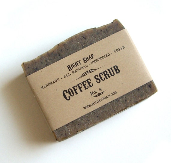 Coffee Scrub Soap - Kitchen Soap, Vegan Soap, Unscented Soap, All Natural Soap, Handmade Soap, Fragrance Free Soap,  Cold Process Soap,