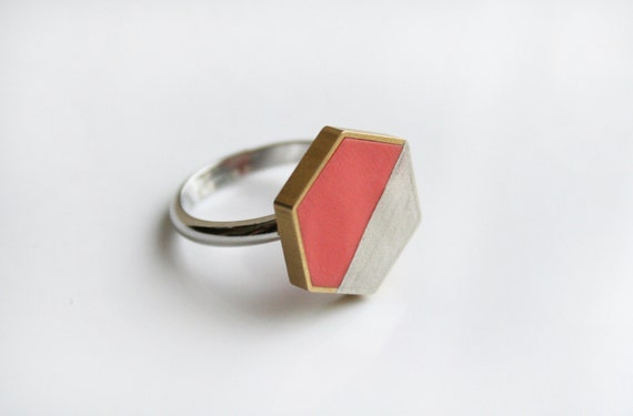 Peach/Silver Hexagon Ring