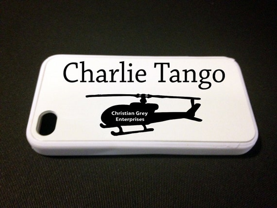 50 Shades of Grey Charlie Tango Inspired iPhone 4/4s Cell Phone Case - Black Text