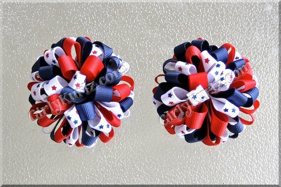 4th of July Loopy Pom Pom Bow Patriotic Hair Bow