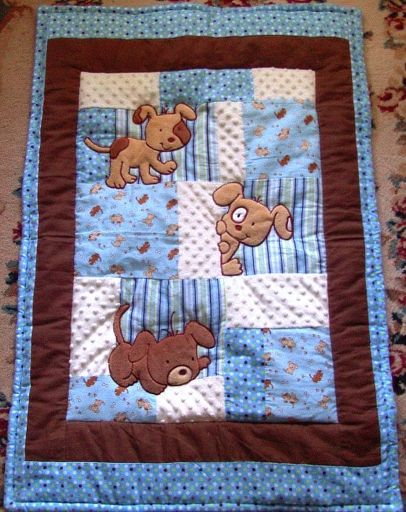 Puppy Baby Quilt Minky Flannel Blanket  Patchwork Flannel Back Boy Blanket 35 x 46