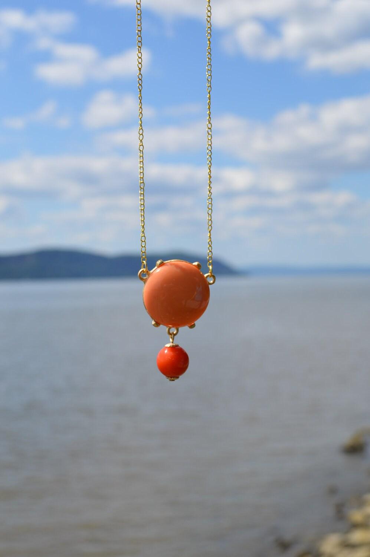 vintage coral beach necklace