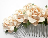 Peach Rose Bridal Hair Comb Set of Two Handmade Flower Accessory - SpearmintAndThyme