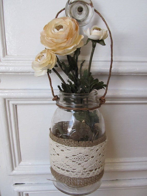 "Burlap & Lace ""Sleeve"" for Mason Jars"