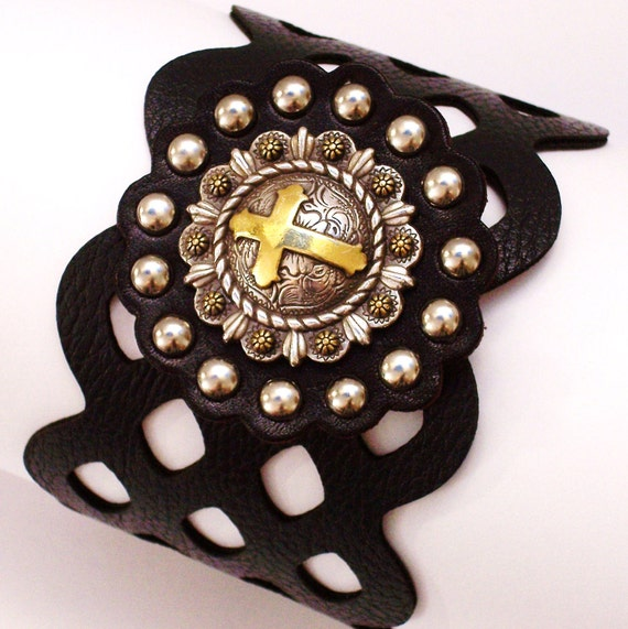 Steampunk Bracelet Gothic  Medieval Jewelry Crusaders Cross Knights of the Round