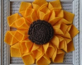 Large Felt Sunflower Pin, Brooch