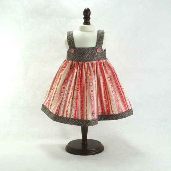 "Sundress - Orange Pink Brown - fits 18"" Doll American Girl Doll"