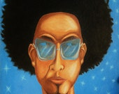 "Cool Blue Night  12"" x 16""-blue urban, hip-hop man in shades with afro along with stars and moon in a night sky"