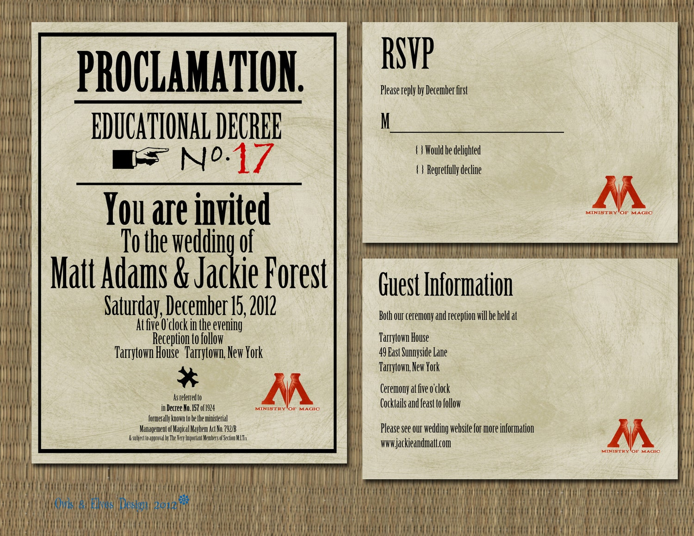 printable harry potter proclamation wedding invitation | wedding, Wedding invitations