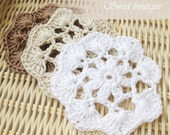 Rustic woodland Crochet flower appliques Wedding Decoration Embellishment Scrapbooking natural color set of 6 - brown beige white - MSweetboutique