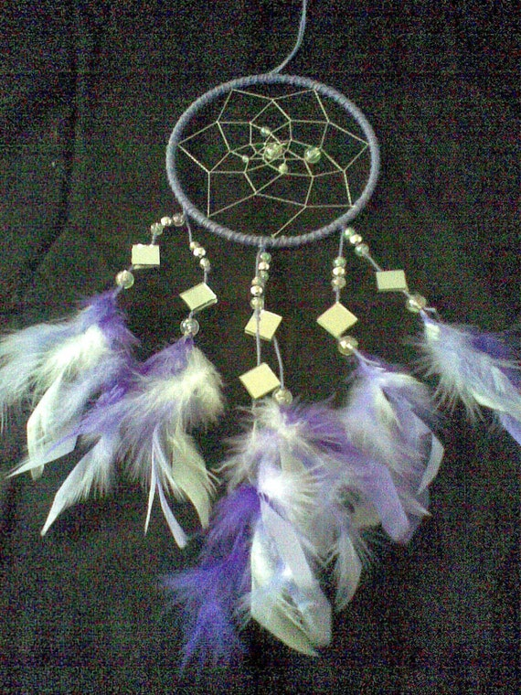 DreamCatcher with Mirrors, 6 Inch, Mauve,Purple,White..