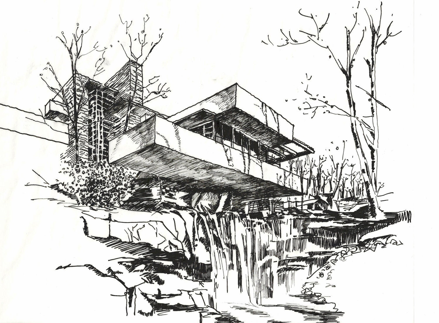 Falling water drawings sketch coloring page - Dessin vegetation ...
