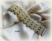 Beaded pearl bracelet, seed bead jewelry, bridal jewelry, OOAK jewelry