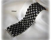 Beaded black silver bracelet, elegant unique design, OOAK