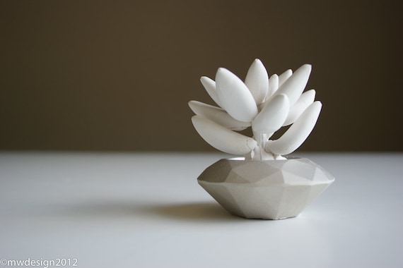 White Succulent Sculpture, Modern Nickel Faceted Geometric Container, Desktop, Tabletop Centerpiece