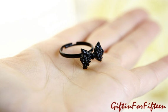 Strike A Pose - Vintage Style Jewelry Black Metal Bow Ring Steampunk Nerdy Jewelry OOAK by Giftin For Fifteen