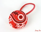 Cowgirl Button Hair Tie in Red Bandana Print - Toddler Big Girls - Hair Tie Ouchless Hair Accessories - SunnyTies