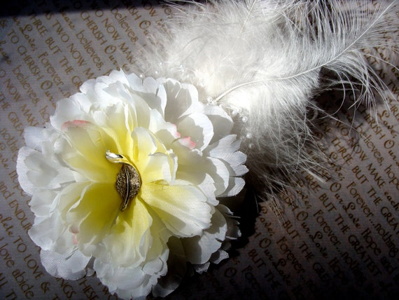 "Diamond White Silver Bridal Flower, Wedding Hair Accessory, Peony Fascinator, Upcycled, Pearl Feather Wedding Hair Clip - ""Ode to Joy"""