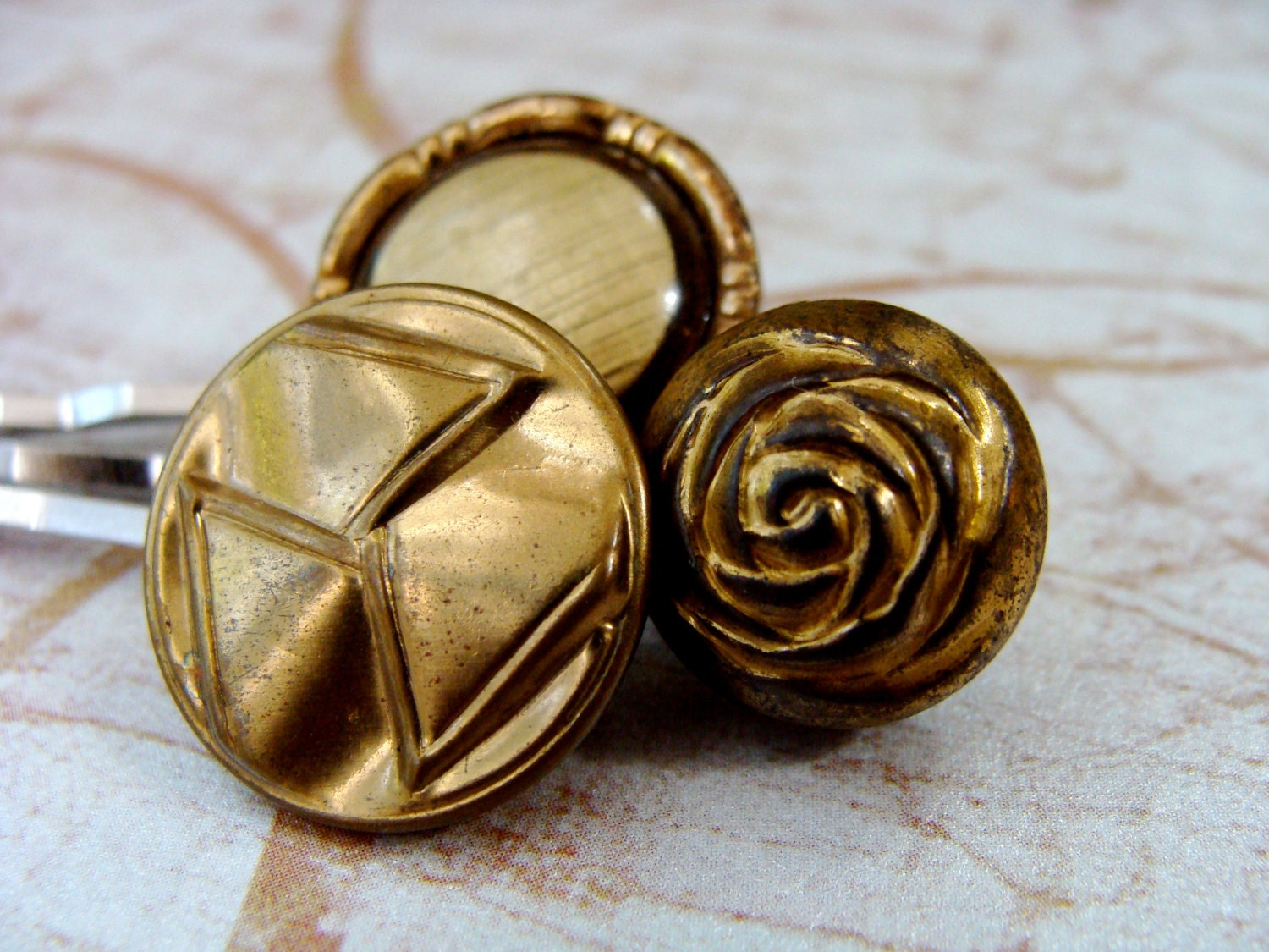 gold button bobby pins with vintage metallic buttons