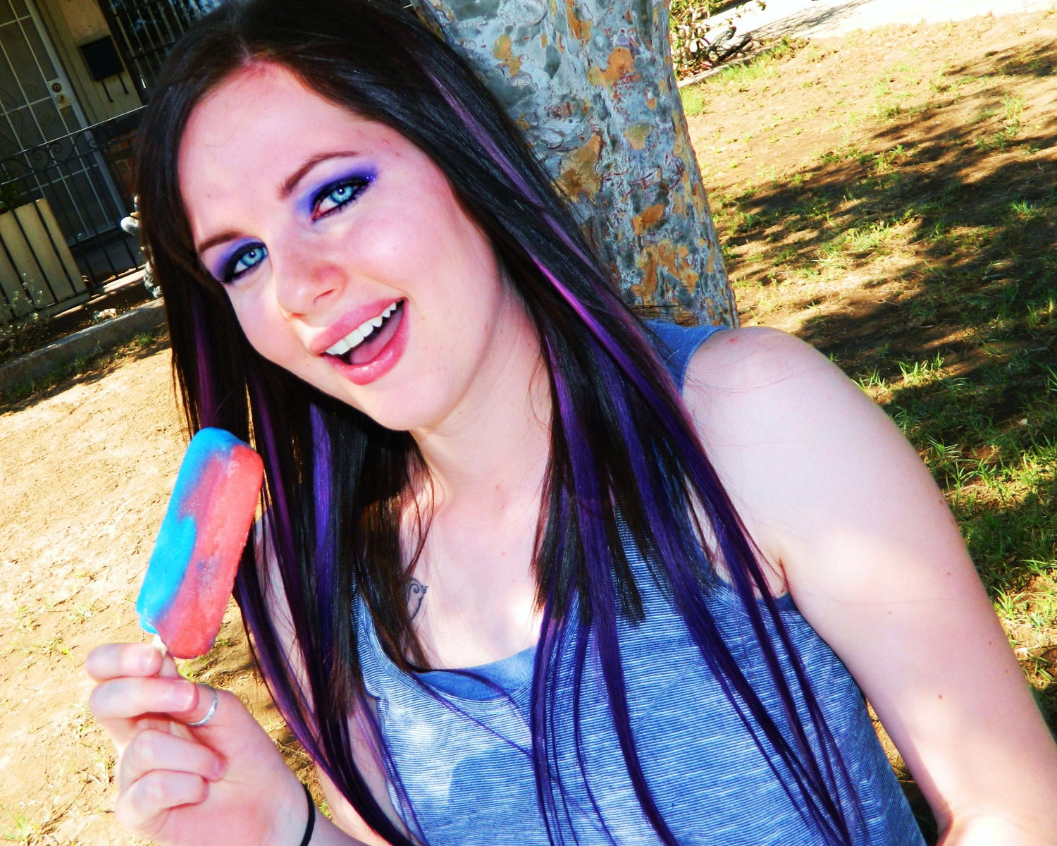 Human Hair Extensions 14 INCH Purple Ombre Extensions ...