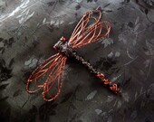 Black and red wire dragonfly brooch - DreamSand