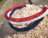 Price Reduced -- Patriotic Bracelet in Viking Knit, Red White and Blue